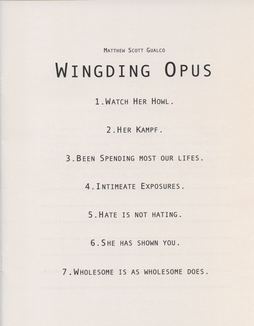 Wingding Opus (table of contents)